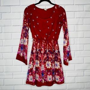 Charlotte Russe red floral dress XS boho